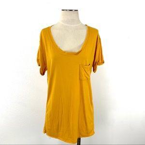 Rag & Bone- Knit Mustard Rolled Short Sleeved Tee